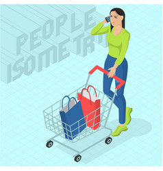 Woman walking with shopping cart vector