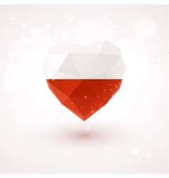 Flag of poland in shape diamond glass heart vector