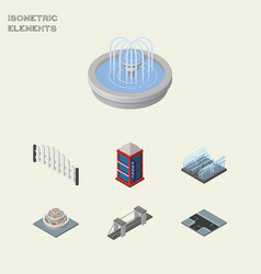 Isometric architecture set of crossroad park vector
