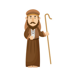 Joseph manger character with cane wooden vector