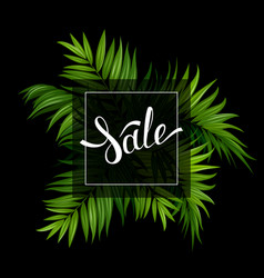 Sale banner with tropical palm leaves on the black vector