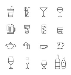 Glass and bottle stroked iconsstroke path layer vector
