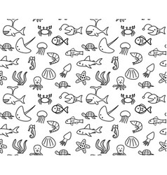 Seamless sea animal life in ocean pattern vector