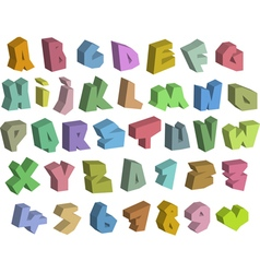 3D graffiti color fonts alphabet and number vector image vector image