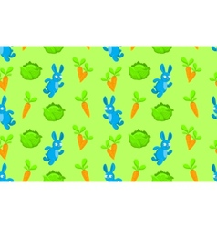 Pattern rabbit carrot and cabbage vector