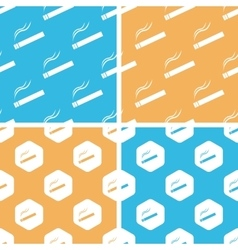 Burning cigarette pattern set colored vector