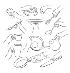 Hands holding kitchen tools vector