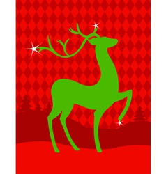 Green christmas deer vector