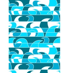 Blue abstract waves in a repeat pattern vector