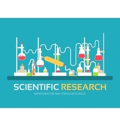 Scientific research in flat design background vector