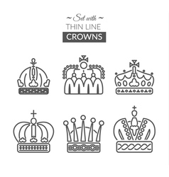 Set with thin line icons with different crowns vector