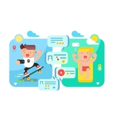 Communication technology concept flat vector