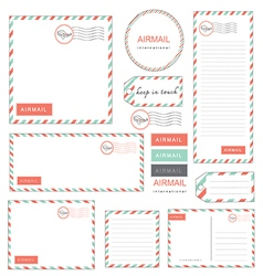 Airmail letter set vintage vector