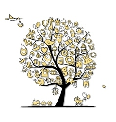 Art tree with baby toys for your design vector image vector image