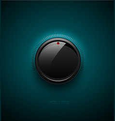 black glossy interface button for volume control vector image