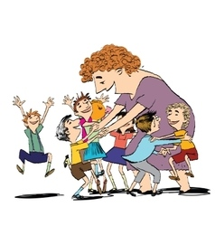 Children and nanny or teacher vector
