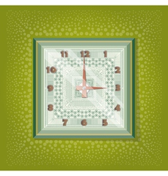 Clocks with pattern in green background vector