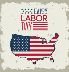 Colorful poster of happy labor day with american vector