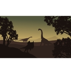 Dilophosaurus and brachiosaurus silhouette in vector
