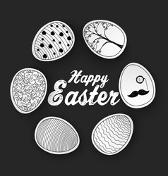 easter eggs with doodles pattern vector image