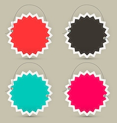 Empty Paper Toothed Star Shaped Labels - Tags or vector image vector image