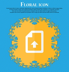 Export upload file floral flat design on a blue vector