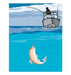 Fisherman fishing trout fish retro vector