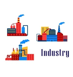 Flat factory industrial buildings vector