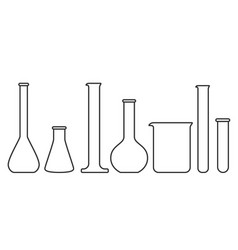 Glassware instruments in linear style vector