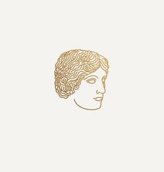 greek girl logo vector image vector image
