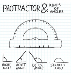 Hand-drawn protractor and angles vector image
