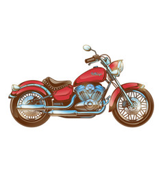 Hand-drawn red vintage motorcycle classic chopper vector