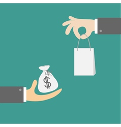 Hands with money and shopping bag Exchanging vector image