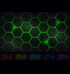 Hexagon background six isolated variants of color vector