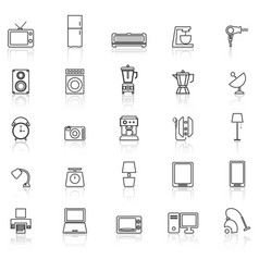 household line icons with reflect on white vector image vector image