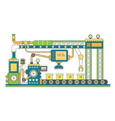 Industrial conveyor belt line flat vector