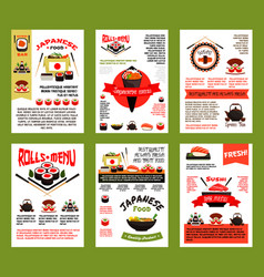 Japanese food and sushi menu banner template set vector