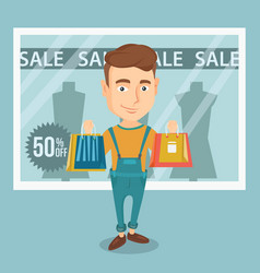 Man shopping on sale vector
