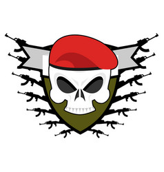 military emblem army logo soldiers badge skull in vector image vector image