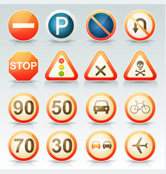 Road signs glossy icons set vector