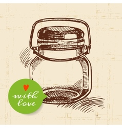 Rustic mason canning jar Vintage hand drawn sketch vector image