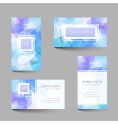 Set of business cards low poly design vector