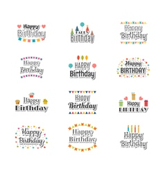 Set of Happy Birthday greeting cards Cute postcard vector image vector image