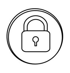 silhouette symbol lock icon vector image