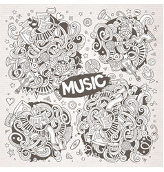 sketchy doodles cartoon set of music vector image vector image
