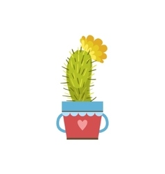 Small Blooming Cactus In A Pot vector image vector image