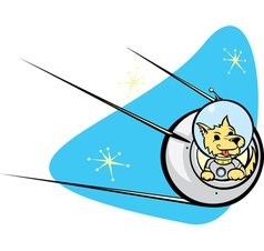 Sputnik satellite and dog vector
