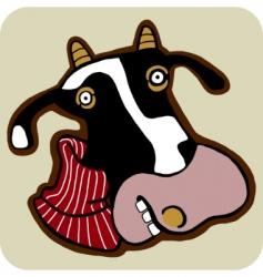 vector cartoon of winter cow vector image vector image