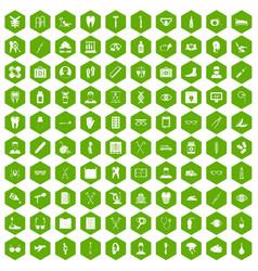100 medical treatmet icons hexagon green vector