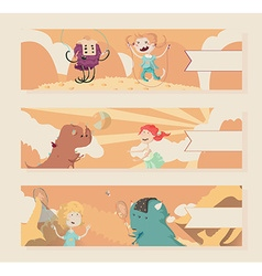 Horizontal warm banners with kids and monsters vector